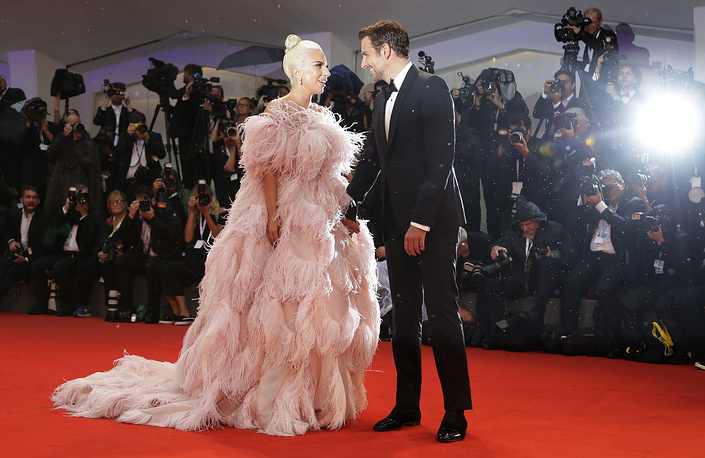 Actress and singer Lady Gaga and actor Bradley Cooper seen at the premiere of the film 'A Star Is Born' at the 75th edition of the Venice Film Festival