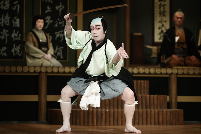 A scene from the Keisei Hangonko production, a Shochiku Grand Kabuki performance by Chikamatsuza Troupe, as part of the Chekhov International Theatre Festival at the Mossovet Theatre, Moscow, September 8