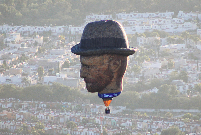 A hot air balloon with the image of the renowned Dutch artist Vincent van Gogh is seen during the International Balloon Festival over the skies of Leon, Mexico, November 17