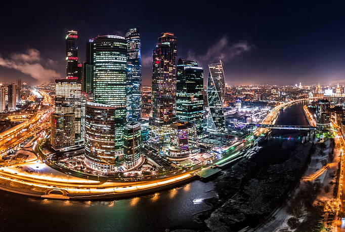 A view of the Moscow International Business Centre lit up at night in central Moscow, November 28