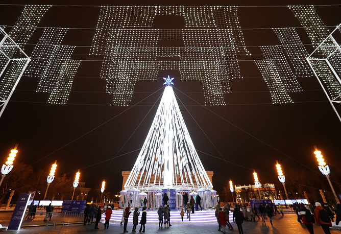 A Christmas tree is seen at the VDNKh exhibition centre