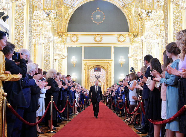 Russian President-elect Vladimir Putin ahead of being sworn-in as President of Russia in St Andrew's Hall of the Grand Kremlin Palace