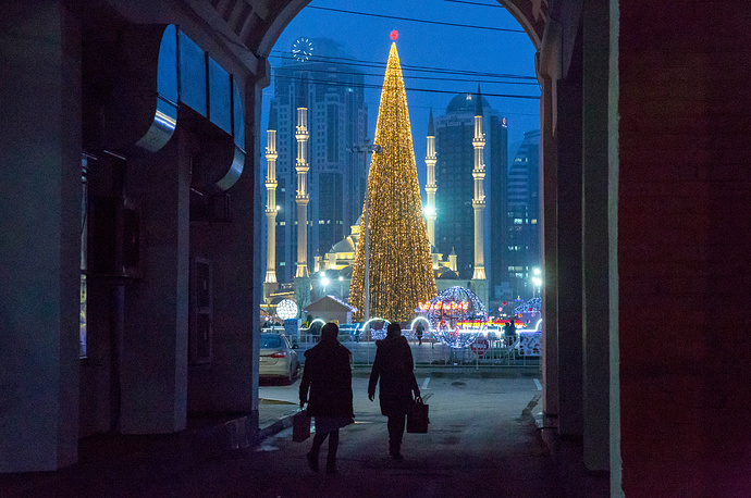 A view of New Year tree, the Grozny-City Towers, the Akhmat Kadyrov mosque and Abubakar Kadyrov Square in Grozny, December 25