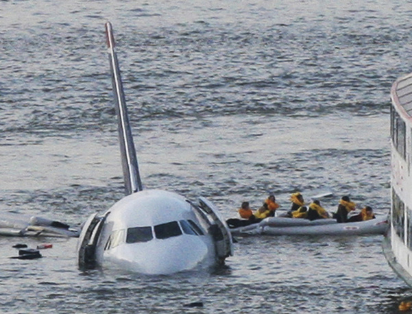 Passengers were able to escape the Airbus 320 through openings in the fuselage, half of which floated above the icy water shortly after the crash, allowing passengers to stand on the nearly submerged wings before rescue ships arrived