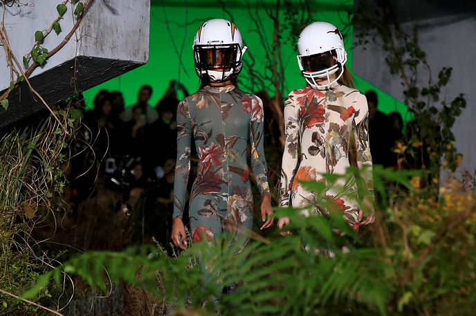 Models present creations by designer Virgil Abloh as part of his Fall/Winter 2019-2020 collection show for his label Off-White during Men's Fashion Week in Paris, January 16