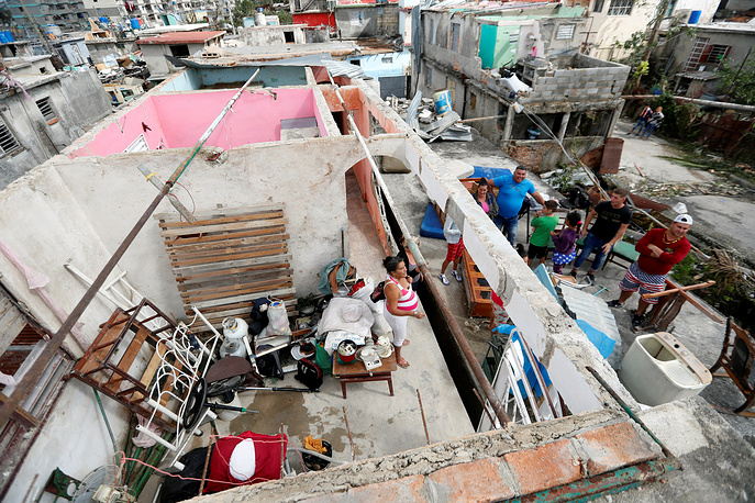 A roofless house affected by tornado, at the municipality of Luyano, in Havana