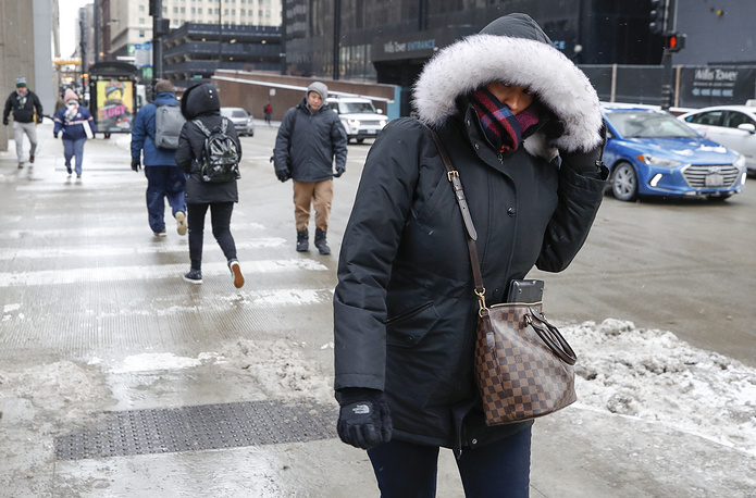 A woman braves the freezing weather in Chicago