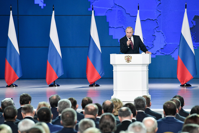 Russia's President Vladimir Putin delivers an annual address to the Federal Assembly of the Russian Federation, Moscow, February 20