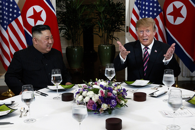 President Donald Trump speaks during a dinner with North Korean leader Kim Jong Un