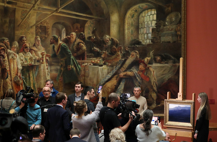 """""""Ai-Petri. Crimea"""" painting by Russian artist Arkhip Kuindzhi returned to the Russian Museum, Saint Petersburg, March 4. The 1890s painting was stolen from the Tretyakov Gallery during an exhibition on January 27, 2019, and retrieved by the police shortly after"""