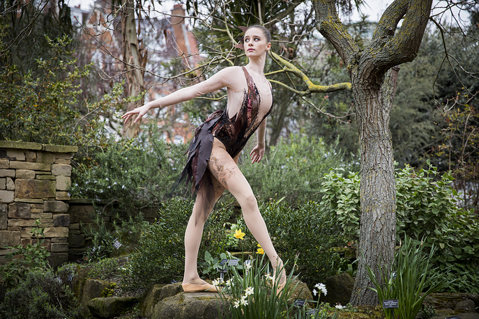 Dancer Nell Maude posing during the 'Bird Woman' Ballet Central 2019 Tour photocall at Chelsea Physic Garden in London, March 20