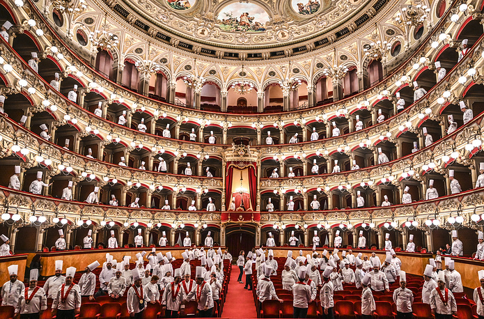 Second day of the great feast of Italian cuisine 'Cibo Nostrum 2019' celebrating the culture of food and wine at the Teatro Massimo Bellini, Catania, Italy, April 1