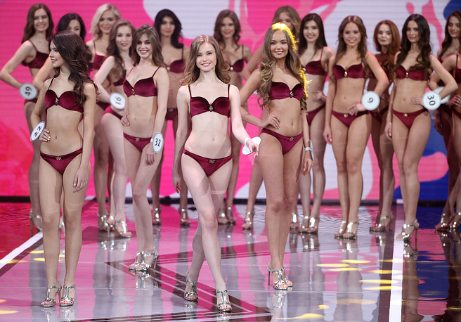 Contestants competing in the final of the 2019 Miss Russia beauty pageant