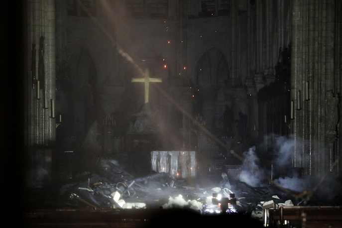 General view of the interior of the Notre-Dame Cathedral after the fire