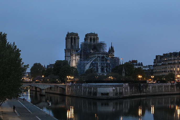 Notre Dame cathedral is seen after the fire in Paris