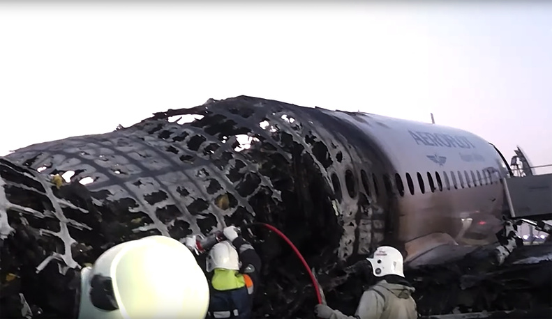 A fragment of SSJ100 passenger aircraft after crashlanding at Sheremetyevo airport