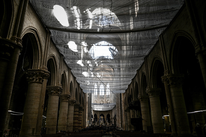 Protective net is seen in the Notre Dame de Paris Cathedral
