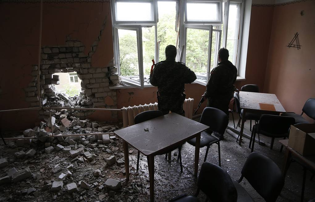 Building damaged by Sloviansk shelling (archive)  EPA/MAXIM SHIPENKOV