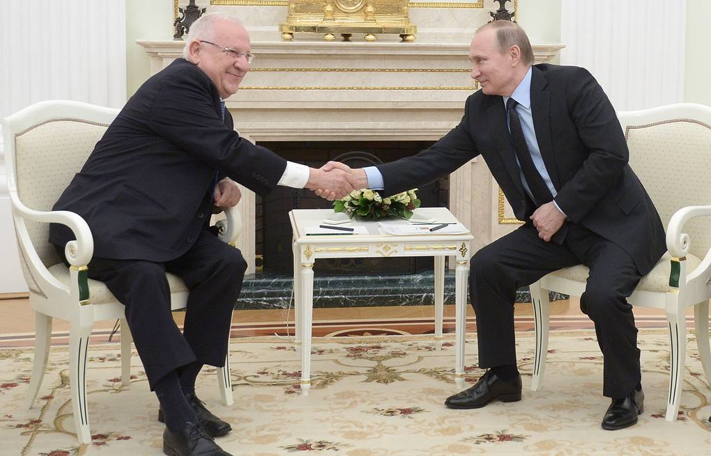 Israeli President Reuven Rivlin and Russian President Vladimir Putin  Alexei Nikolsky/Russian Presidential Press and Information Office/TASS