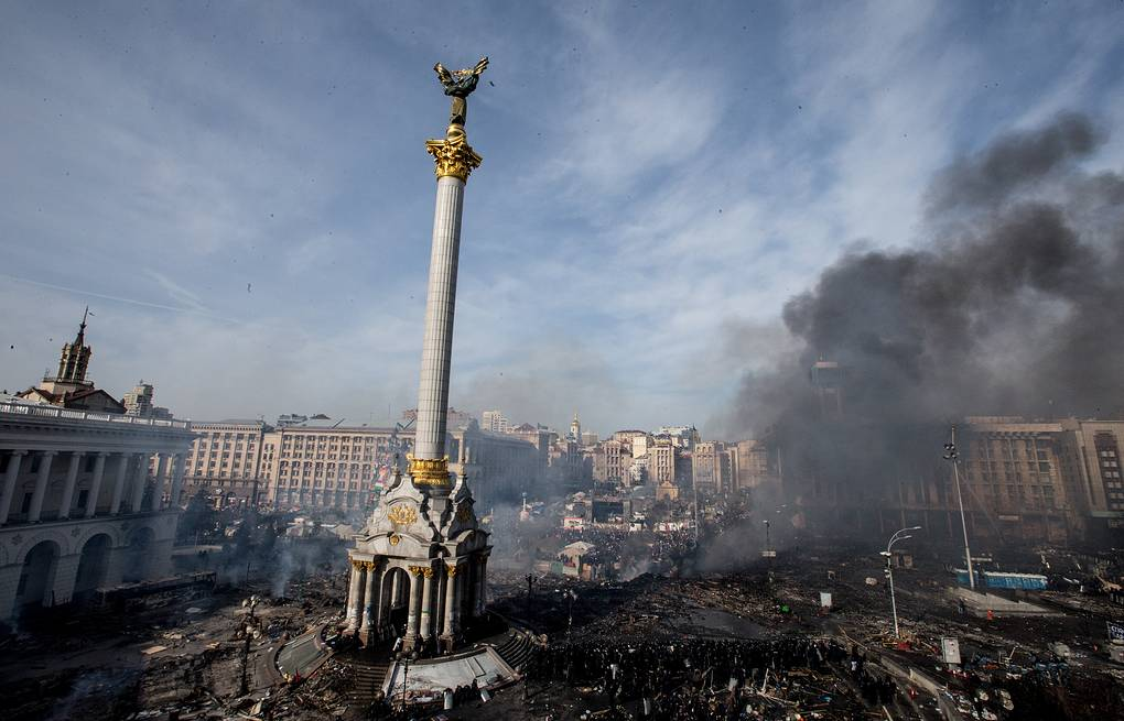 Smoke over Kyiv's Independence Square, 2014 Yevgeny Maloletka/ITAR-TASS