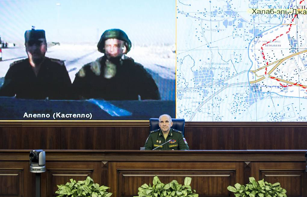 Lt.-Gen. Sergey Rudskoy seen during a video call with Russian and Syrian officers AP Photo/Alexander Zemlianichenko