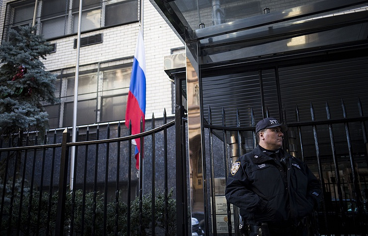 Russian embassy in New York  EPA/JOHN TAGGART