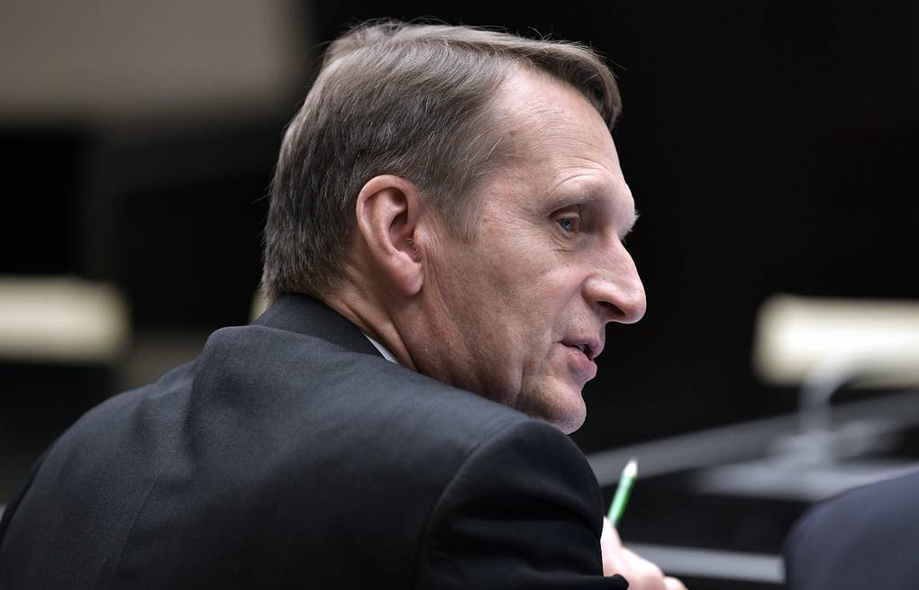Russian Foreign Intelligence Service chief Sergei Naryshkin  Alexei Nikolsky/Russian Presidential Press and Information Office/TASS