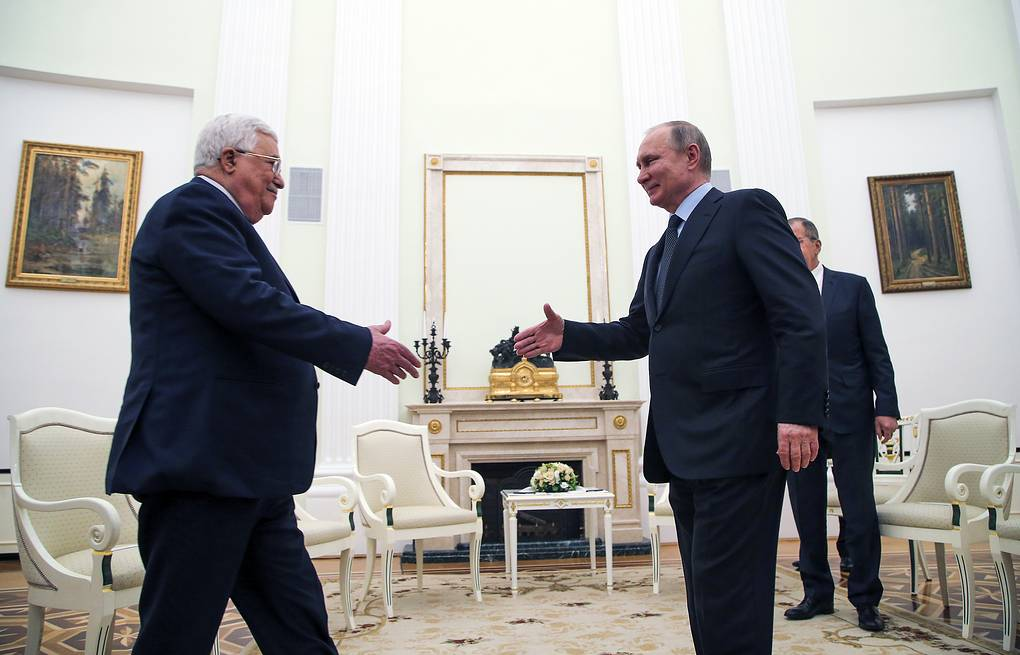 Palestinian President Mahmoud Abbas and Russian President Vladimir Putin Maxim Shipenkov, Pool Photo via AP