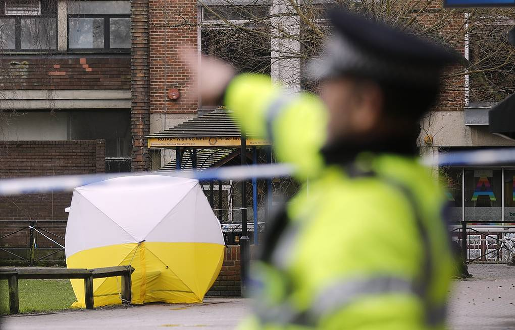 A police tent covers the area where Sergei Skripal and his daughter were found in Salisbury AP Photo/Frank Augstein