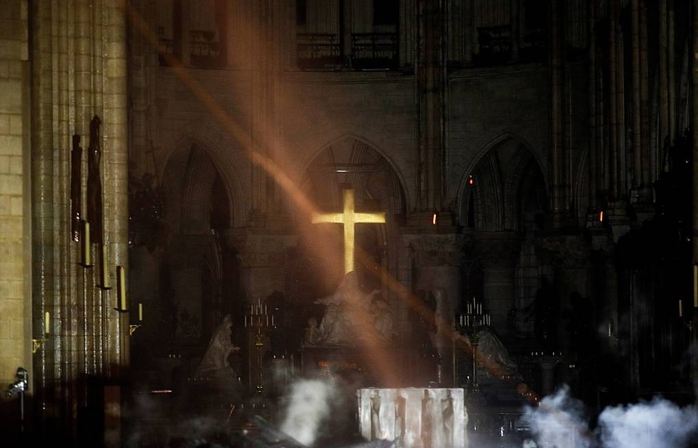 Cathedral's interior after fire REUTERS/Philippe Wojazer/Pool
