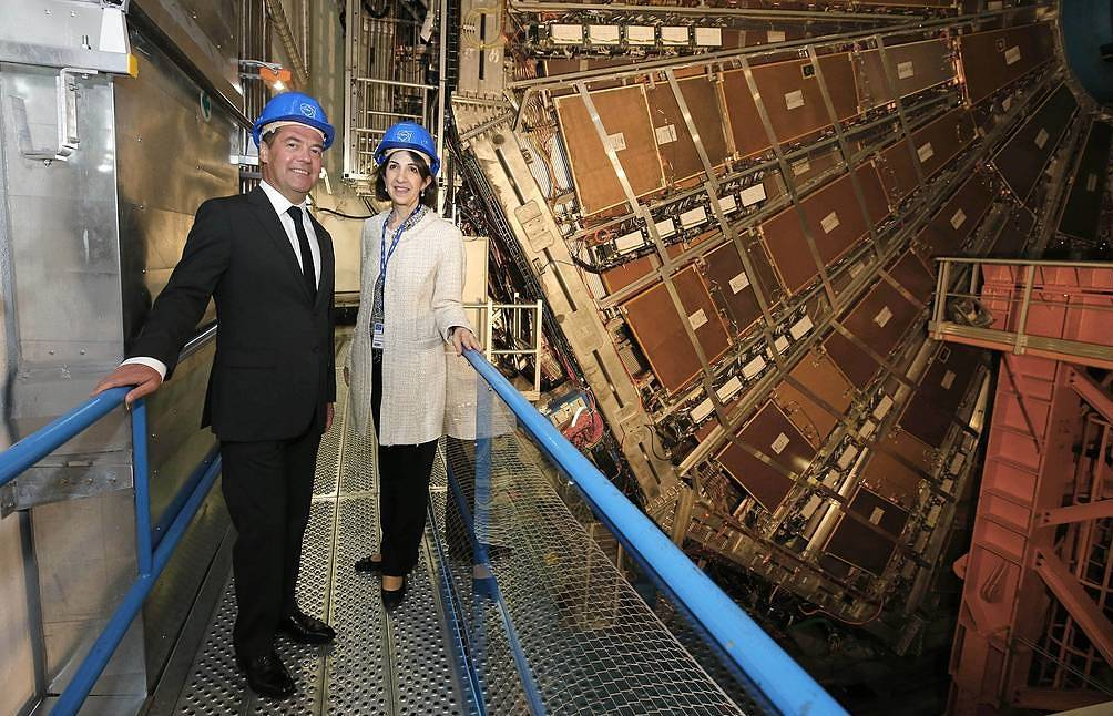Russian Prime Minister Dmitry Medvedev and CERN's Director-General Fabiola Gianotti Dmitry Astakhov/Russia's presidential press service/TASS
