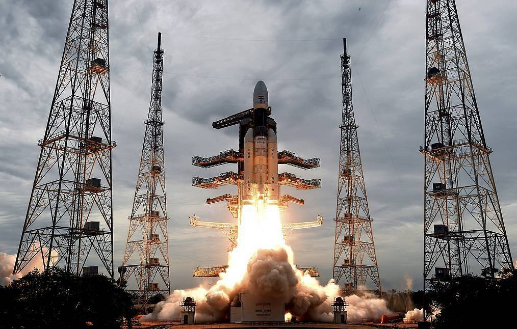 Launch of GSLV Mk III carrier rocket with Chandrayaan-2 unmanned mission Indian Space Research Organization via AP