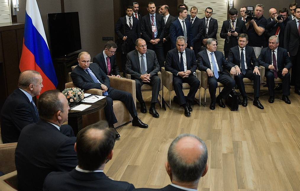 Turkish President Recep Tayyip Erdogan, center, left, and Russian President Vladimir Putin Alexei Druzhinin/Press Service of the Russian President/TASS