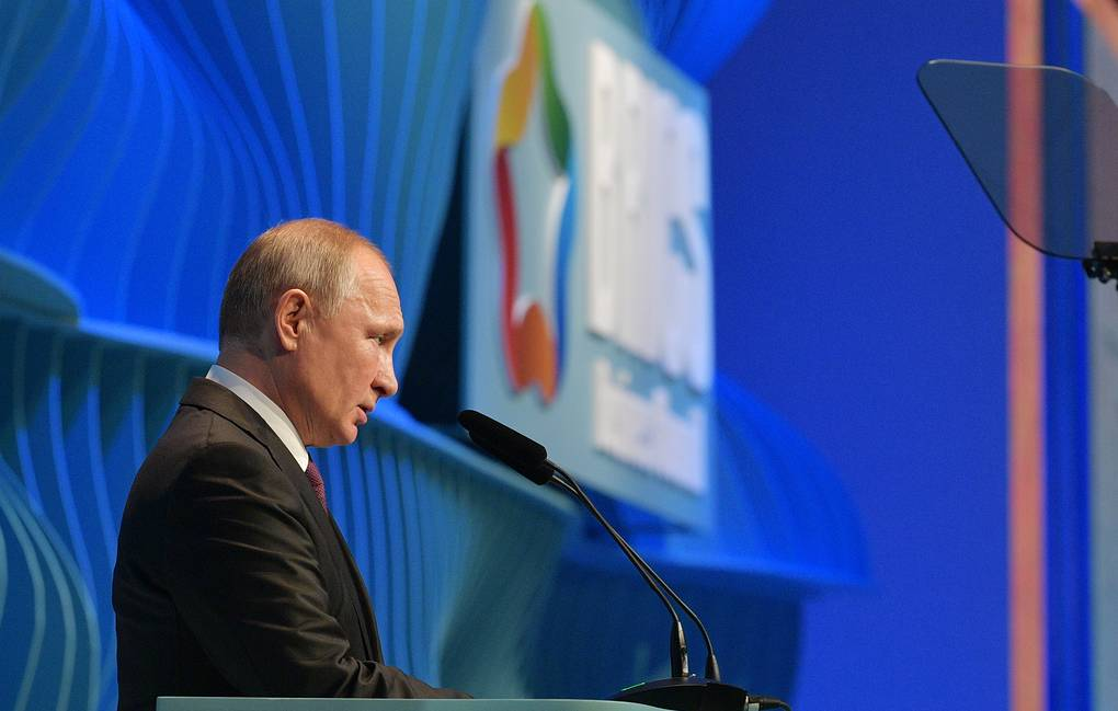 Russia's President Vladimir Putin makes remarks at the closing of the BRICS Business Council Forum Alexei Druzhinin/Russian Presidential Press and Information Office/TASS