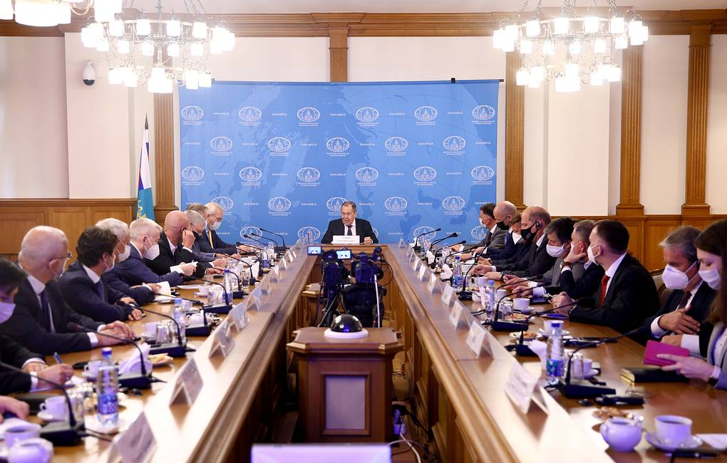 Russian Foreign Minister Sergey Lavrov speaking at a meeting with the members of the Association of European Businesses  Russian Foreign Ministry Press Office/TASS