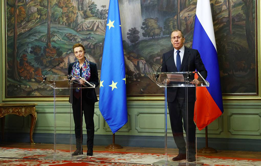 Council of Europe's Secretary-General Marija Pejcinovic-Buric and Russian Foreign Minister Sergey Lavrov  Russian Foreign Ministry Press Office/TASS