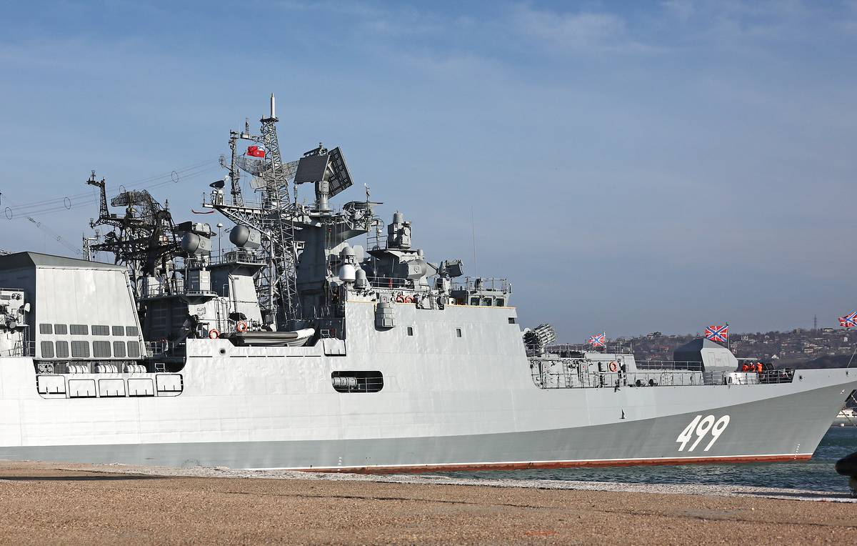 Russian missile frigate holds gunnery exercise in East Mediterranean