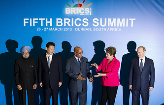 Presidents of the BRICS countries pose during the 5th BRICS summit in Durban, South Africa, 27 March 2013