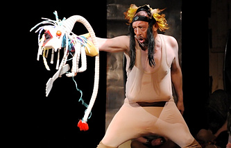 Actor and playwright Nikolai Koliada in a theatrical production of King Lear