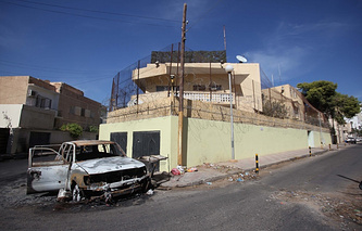 Aftermath of the explosion near Russia's embassy in Libya