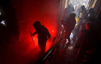 Protesters take over the main office of the ruling Ukrainian 'Party of Regions'