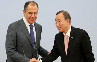 Sergei Lavrov and Ban Ki-moon