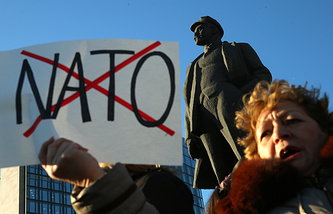 A woman protesting against plans of Ukraine's accession to NATO in Donetsk