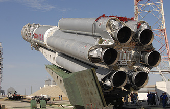 A Russian Rocket getting ready to take an Asian satellite into space (archive)