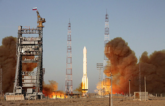 Express-AT1 was launched jointly with Express-AT2 from the Baikonur space center by a Russian Proton-M rocket
