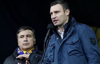 Vitali Klitschko (right) and Mikheil Saakashvili (left)