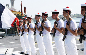 French naval marine officers on board the French Frigate MV Surcouf (archive)