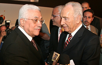 Mahmoud Abbas and Shimon Peres