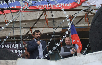 Denis Pushilin (left)