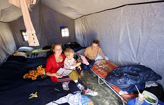 Ukrainian refugees in a camp in Russia's Rostov Region